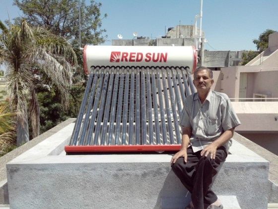 Solar water heater with capacity 200 ltr per day.