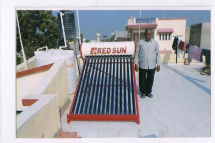 Solar water heater with capacity 150 ltr per day.