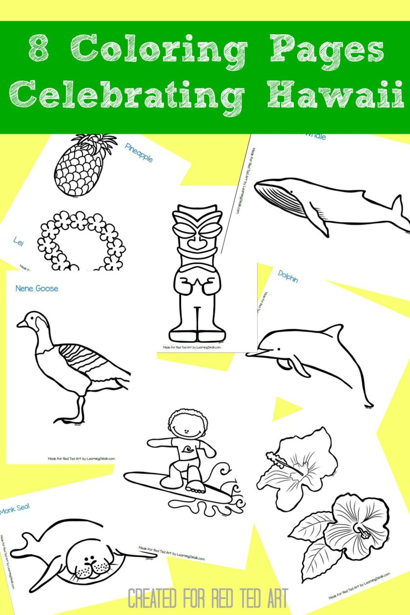 8 hawaiian coloring pages for kids  red ted art  make