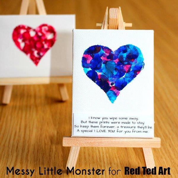 Fingerprint Heart Mini Canvas Red Ted Arts Blog