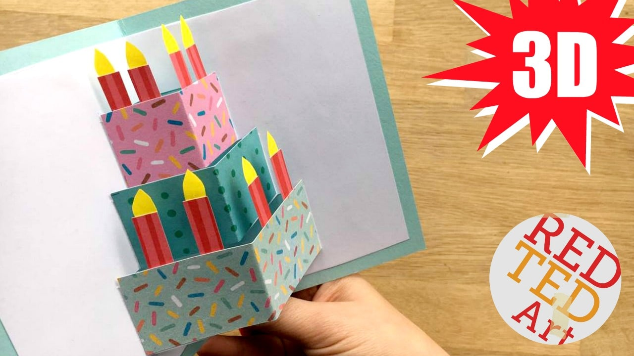 Easy Pop Up Birthday Card Diy Red Ted Art Make Crafting With Kids Easy Fun