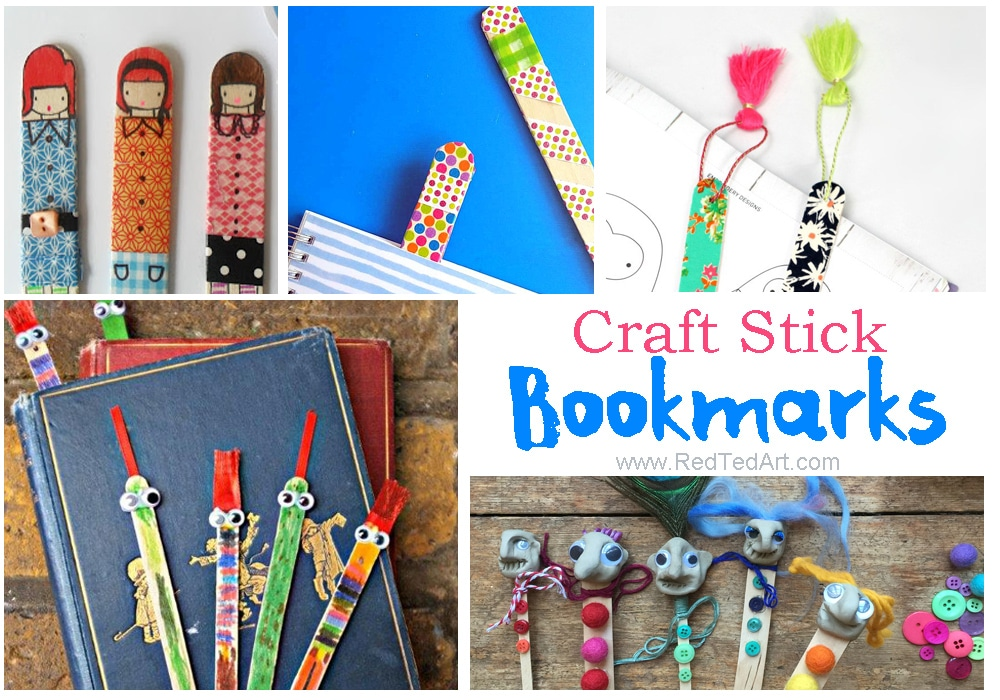 Craft Stick Bookmarks Red Ted Arts Blog