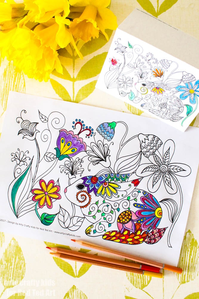 Spring Easter Bunny Colouring Page 1 Red Ted Arts Blog