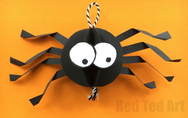 Paper Spider Craft - How to make a 3d Spider out of Paper. Oh yes, it is super duper CUTE Halloween Decor time. We love paper crafts, and this adorable Paper Halloween DIY is super easy to make. The kids can make these too and you will have a quick and easy Halloween Party decorations sorted in no time! #halloween #papercrafts #paper #halloweenspider #cutespider #cute #spiderdecoration #spider