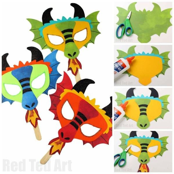 Diy Dragon Mask Printables Red Ted Art
