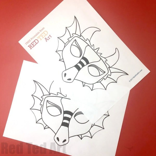 Dragon Mask Coloring Page Red Ted Art