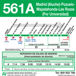 Horarios De Autobús 561 A Madrid Aluche Pozuelo