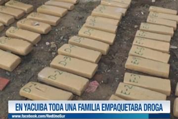 EN YACUIBA TODA UNA FAMILIA EMPAQUETABA DROGA