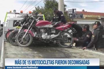 MÁS DE 15 MOTOCICLETAS FUERON DECOMISADAS
