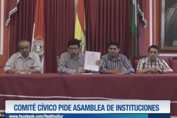 COMITÉ CÍVICO PIDE ASAMBLEA DE INSTITUCIONES