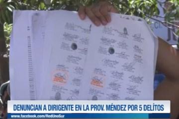 DENUNCIAN A DIRIGENTE EN LA PROVINCIA MÉNDEZ POR 5 DELITOS