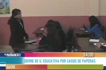 CIERRE DE UNIDADES EDUCATIVAS POR CASOS DE PAPERAS
