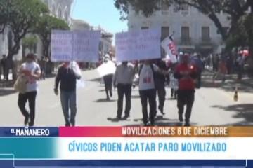 CÍVICOS PIDEN ACATAR EL PARO MOVILIZADO