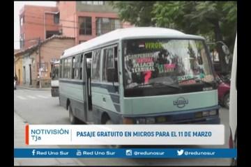PASAJE GRATUITO EN MICROS PARA EL 11 DE MARZO