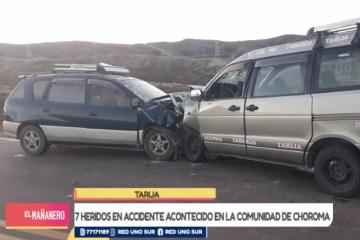 SIETE HERIDOS EN ACCIDENTE DE TRÁNSITO EN LA COMUNIDAD DE CHOROMA