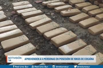 APREHENDEN A 4 PERSONAS EN POSESIÓN DE 16 KGS DE COCAÍNA