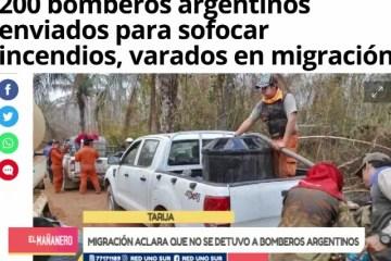 MIGRACIÓN ACLARA QUE NO SE DETUVO A BOMBEROS ARGENTINOS