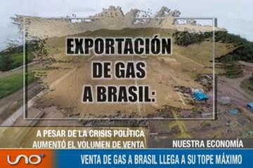VENTA DE GAS A BRASIL LLEGA A SU TOPE MÁXIMO