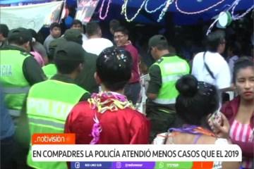 EN COMPADRES LA POLICÍA ATENDIÓ MENOS CASOS QUE EN 2019