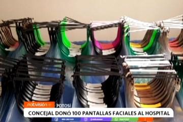 CONCEJAL DONÓ 100 PANTALLAS FACIALES AL HOSPITAL
