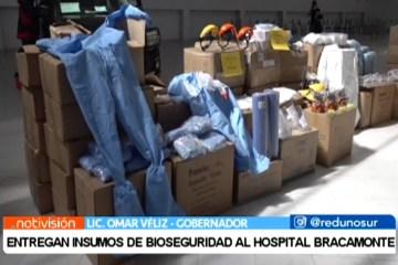 ENTREGAN INSUMOS DE BIOSEGURIDAD AL HOSPITAL BRACAMONTE