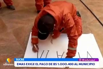 EMAS EXIGE EL PAGO DE BS. 1.000.400 AL MUNICIPIO