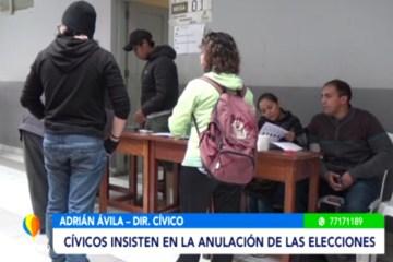 CÍVICOS INSISTEN EN LA ANULACIÓN DE LAS ELECCIONES