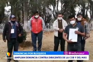 AMPLÍAN DENUNCIA CONTRA DIRIGENTES DE LA COB Y DEL MAS
