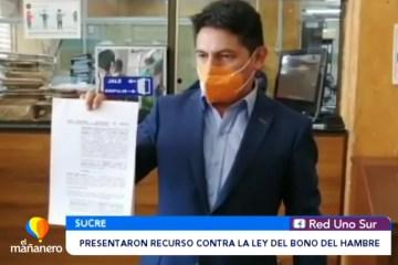 PRESENTARON RECURSO CONTRA LA LEY DEL BONO DEL HAMBRE