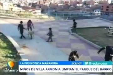 POSINOTICIA: NIÑOS DE VILLA ARMONÍA LIMPIAN EL PARQUE DEL BARRIO