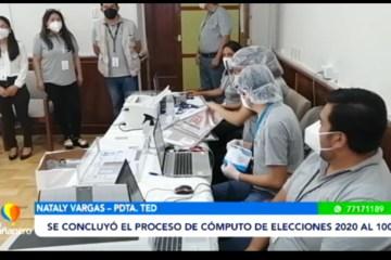 SE CONCLUYÓ EL PROCESO DE CÓMPUTO AL 100%