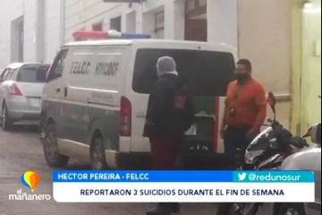 REPORTARON TRES SUICIDIOS DURANTE EL FIN DE SEMANA