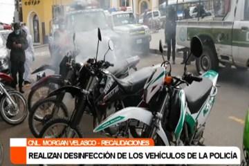 REALIZAN DESINFECCIÓN DE LOS VEHÍCULOS DE LA POLICÍA