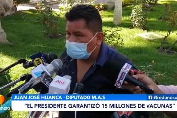 DIPUTADO HUANCA ASEGURA LA LLEGADA DE UN MILLÓN DE VACUNAS