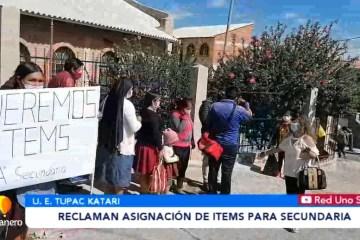 RECLAMAN ASIGNACIÓN DE ÍTEMS PARA SECUNDARIA