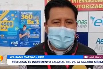 RECHAZAN EL INCREMENTO SALARIAL DEL 2% AL SALARIO MÍNIMO