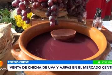 VENTA DE CHICHA DE Y UVA Y AJIPAS EN EL MERCADO CENTRAL