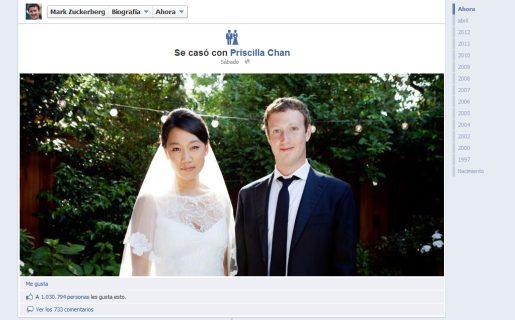 La timeline de Zuckerberg, con foto de boda y cambio de estado civil incluidos.