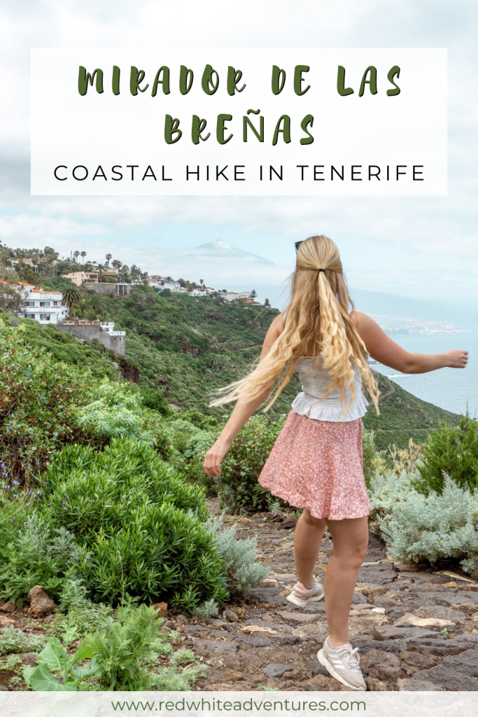 Pin for Pinterest of hiking a coastal walk in Tenerife.