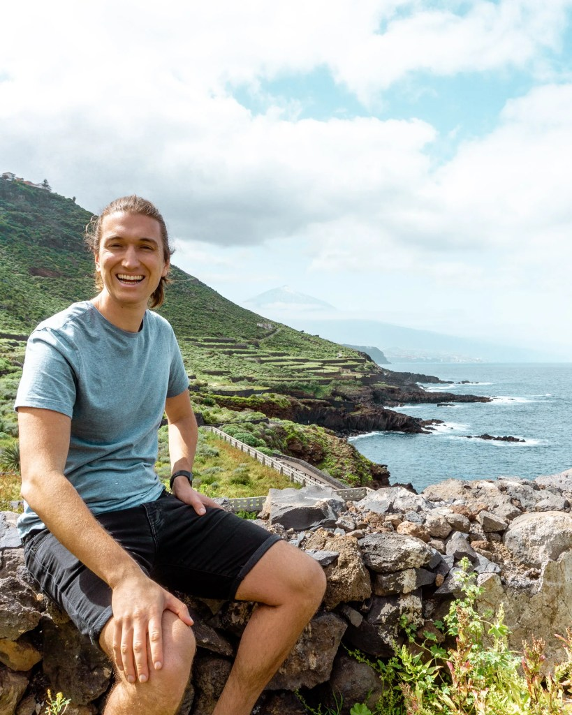 Dom smiling while hiking in Tenerife.