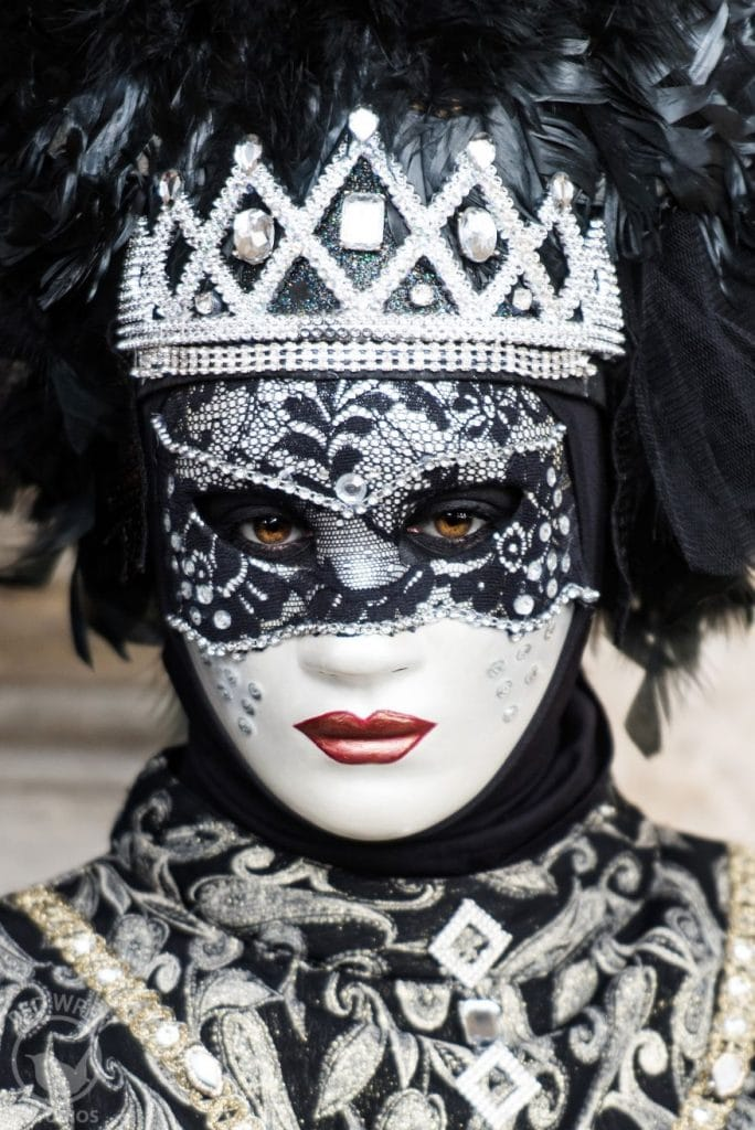 Venice Carnival mask and costume, white