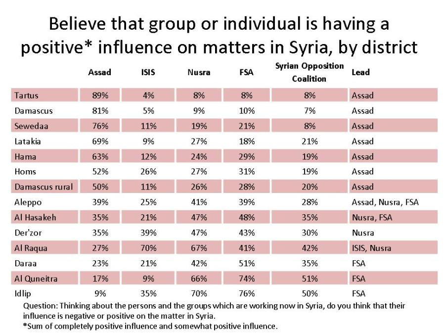 A detailed breakdown of support in the regions of Syria.