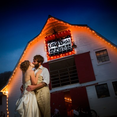 Reeb Ranch Wedding Couple Kissing at Night