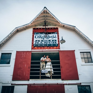 Reeb Ranch Wedding Couple Standing in Barn