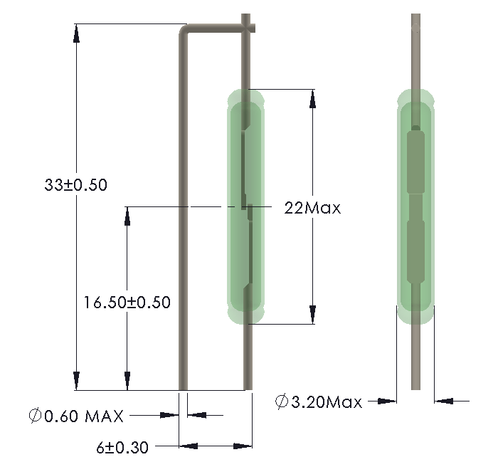 Drawing of HB-2232 Reed Switch for Vertical mounting