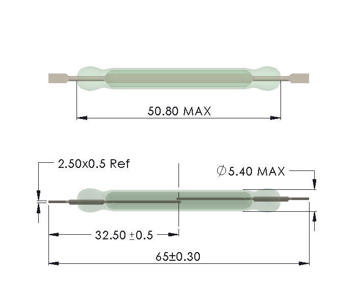 Drawing of HW-5052 Reed Switch for Soldering