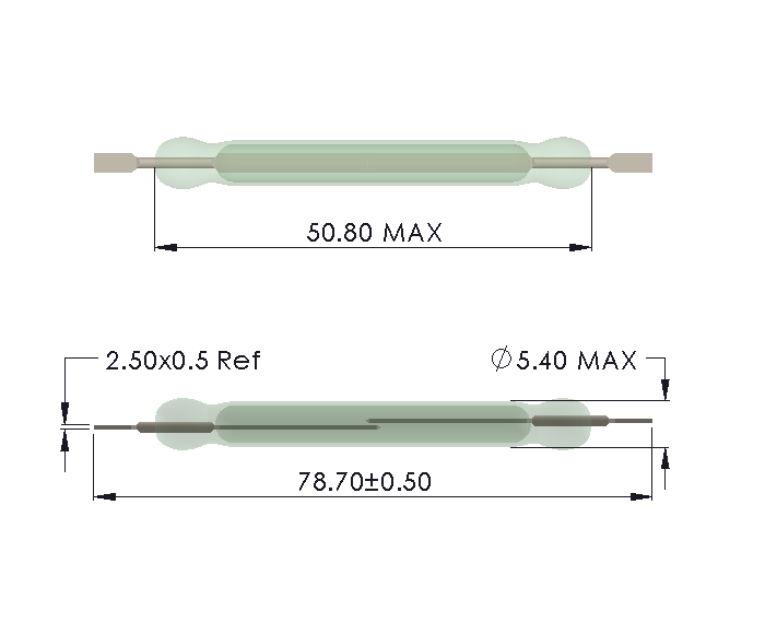 Drawing of HW-5052 Reed Switch