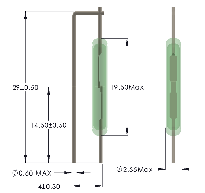 Drawing of LV-1925 Reed Switch for Vertical mounting