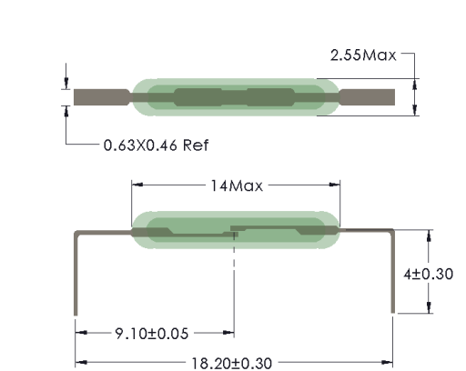 Drawing of MC-1425 with Leads Formed for Horizontal Mounting
