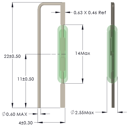 Drawing of MC-1425 with Leads Formed for Vertical Mounting